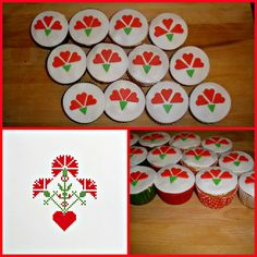1st May - slovenian labour day muffin toppers (traditional holiday flower: carnation, inspiration from traditional embroidery style)
