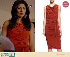 Divya's orange draped front belted dress on Royal Pains. Outfit Details: http://wornontv.net/34429/ #RoyalPains
