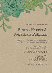Old fashioned and incredibly hip, the succulents wedding invitation carries a stylish refinement that swaggers.