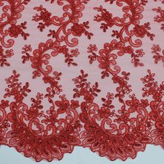 "STRETCH RE-EMBRODIERED  LACE FABRIC RED  54/"" BTY   PAGEANT FORMAL DRESS"