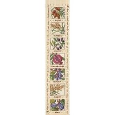 """Seven Species Bell Pull Counted Cross Stitch Kit 5""""X23"""" 14 Count, Dates, Barley, Olives, Pomegranate, Grapes, Wheat, and Figs, surrounded by the Bible verse Deuteronomy 8:8 """"A hand of wheat, and barley, and vines and fig trees, and pomegranates, a hand of olive oil and honey."""""""