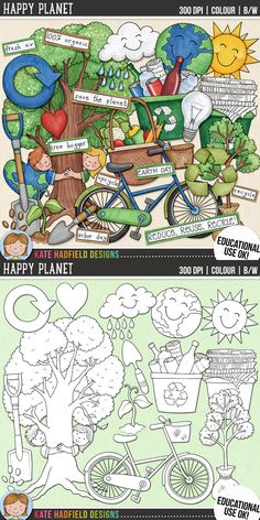 Earth Day / recycling clip art for teachers! | Contains coloured clipart and black and white outline versions at 300 dpi for highest quality printing for your resources and projects! | Hand-drawn clipart by Kate Hadfield Designs at Teachers Pay Teachers