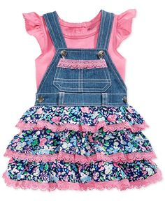 Nannette Baby Girls' 2-Piece Ruffle Top & Floral Overall Set