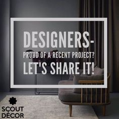 Hey Designers- if you've just completed a beautiful project, we'd love to share and promote your work! Please send us your photos to contact@scoutdecor.com for a chance to be featured on our social media pages! #interiordesign #interiordesigner #art #decor