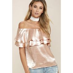 Time to Shimmer Blush Pink Satin Off-the-Shoulder Top (84 CAD) ❤ liked on Polyvore featuring tops, blouses, pink, holiday blouses, evening blouses, pink top, shiny blouse and satin blouse