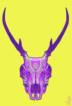 Deer skull art -color scheme, pattern