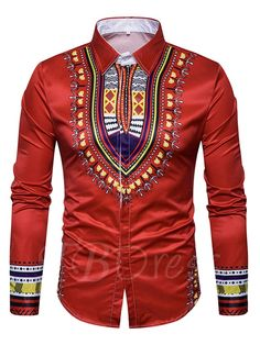 Tbdress.com offers high quality Lapel Ethnic Printed Totem Single-Breasted Slim Fit Men's Shirt Men's Shirts unit price of $ 20.99. African Fashion Designers, African Men Fashion, Mens Fashion, Cheap Fashion, Africa Fashion, Fashion Outfits, Fashion 2017, Fashion Styles, Fashion Clothes
