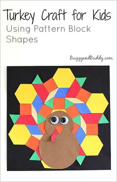Turkey Craft for Kids Using Pattern Block Shapes (Perfect math activity for Thanksgiving!) ~ BuggyandBuddy.com