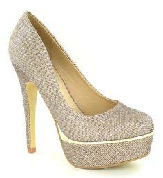 High Heel Platform Court / Glitter Mesh