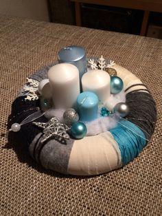 DIY Adventskranz aus Stoff,Wolle und Bändern