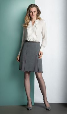 DELICATE ivory blouse and OZONE heathered grey flannel skirt. ETCETERA Fall 2014