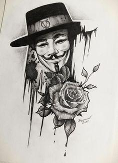 Fuck tatoo: beautiful beautiful tattoo for both man and woman Tattoo Sketches, Tattoo Drawings, Drawing Sketches, Art Drawings, Sketch Art, Black Tattoos, Body Art Tattoos, Sleeve Tattoos, V For Vendetta Tattoo