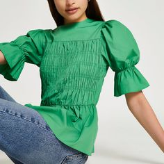 Peplum, Ruffle Blouse, River Island Womens, New Green, Suits You, No Frills, Style Guides, Cold Shoulder Dress, Bell Sleeve Top