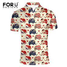 FORUDESIGNS Fresco Animal Elefante Rompecabezas Impresos Camisa de Polo para  Los Hombres de Manga Corta de 0a399391e3682