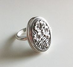 Romantic Silver Locket Ring by EridaneasBoutique on Etsy