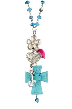 LOVE!  Have to find original listing for pricing.  Turquoise Cross & Charm Cluster Pendant Necklace
