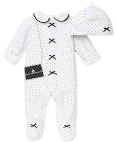 Little Me Baby Girls' 2-Piece Hat & Footed Coverall Set