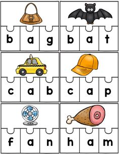 12 CVC short a word puzzles. Also contains a CVC word cut and paste practice sheets. If you like this product, you can find the puzzles for all vowels here: Build a CVC Word. Word Family Activities, Cvc Word Families, Phonics Activities, Short A Activities, Kindergarten Language Arts, Kindergarten Centers, Kindergarten Activities, Preschool, 1st Grade Centers