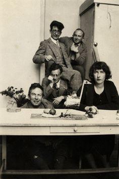 Jean Hélion's studio, Impasse Nansouty, Paris, 1933. Clockwise from top left: Jean Hélion, Anatole Jakovsky, Louisa Calder, William Einstein, and Calder. Photograph by Jean Blair-Hélion