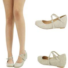 Nude Criss Cross Maryjane Med Low Wedge Heel Ballet Flat Ballerina Pump Shoe 7 5 | eBay