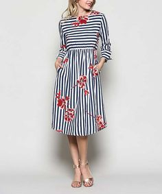 Take a look at this Black Stripe Floral-Accent A-Line Dress today!