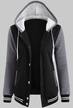 Contrast Sleeve Snap Button Fleece Hoodie Jacket
