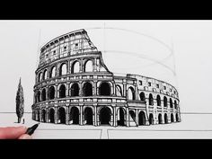 2 Point Perspective Drawing, Perspective Art, Art Drawings Sketches Simple, Realistic Drawings, Ancient Buildings, Famous Buildings, Arte Elemental, Ancient Chinese Architecture, Building Drawing