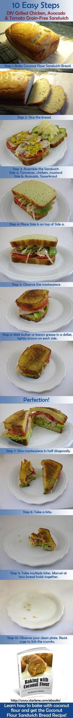 Make A Delicious Bacon, Lettuce and Tomato Sandwich on Grain-Free Coconut Flour Sandwich Bread.