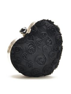 Super Cute Little Heart Bag! Black 3D Rose Heart Shape Clutch Bag | Choies