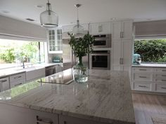 River White Granite Countertops, Transitional, Kitchen, Sherwin Williams  Dorian Gray, K Sarah