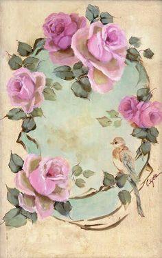 Vintage rose frame paintings by artist Jo-Anne Coletti China Painting, Tole Painting, Vintage Pictures, Vintage Images, Rose Art, Decoupage Paper, Vintage Cards, Belle Photo, Vintage Flowers