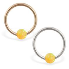 real gold captive bead ring with yellow opal ball Helix Piercing Jewelry, Opal Color, Beaded Rings, Body Jewelry, Solid Gold, Gems, Yellow, Earrings, Ear Rings