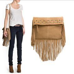 2014 New Tassel Cross Body Bag Shoulder Bag Women Messenger Bags+Suede Leather Handbags Wholesale Drop Shipping $19.99