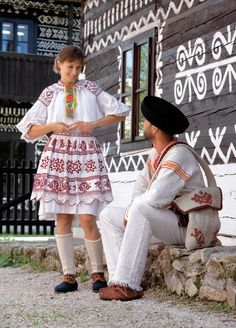 Europe, Portrait of a couple wearing traditional clothes, Čičmany village, Považie region, Western Slovakia Bratislava, Thinking Day, Medieval Fashion, We Are The World, Folk Costume, World Cultures, People Around The World, Kebaya, Traditional Dresses