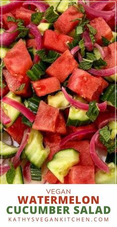 Not only does watermelon cucumber salad scream SUMMER, but it is also so simple to make! My watermelon cucumber salad, however, is a bit different because it includes my favorite Simple Rosemary Infused Pickled Red Onions! Vegan Appetizers, Vegan Snacks, Vegan Food, Food Food, Delicious Vegan Recipes, Healthy Recipes, Fast Recipes, Salad Recipes, Cucumber Watermelon Salad