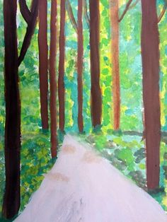 Fifth graders used one point perspective and various painting techniques to create these beautiful landscapes. Isabel243's+art+on+Artsonia