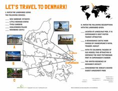 Check out the stunning castles of Copenhagen and the second oldest amusement park in the world with this cool Denmark worksheet. 5th Grade Worksheets, Geography Worksheets, School Worksheets, Worksheets For Kids, Vikings For Kids, Denmark Country, School Information, School Opening, Cultural Studies