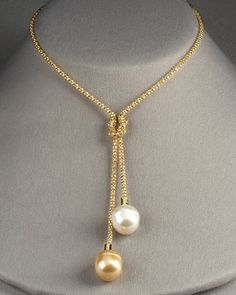 Double Drop Necklace by Majorica at Neiman Marcus.