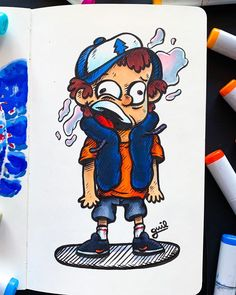 """Boiiiz and girllllz I present you """"Dipper"""" if you don't know who is Dipper I will explain 😤, so he is a kid who has a sister Mabel (should I draw her? Graffiti Doodles, Graffiti Drawing, Trippy Drawings, Colorful Drawings, Rick And Morty Drawing, Copic Marker Drawings, Doddle Art, Doodle Characters, Posca Art"""