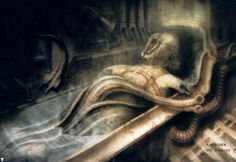 Hans Rüdi Giger: The Tourist IV The creature with the tentacle Chur, Science Fiction, Hr Giger Art, Giger Alien, Alien Queen, Alien Art, Sci Fi Horror, Tentacle, Land Art