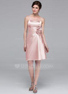 Vestido tubo Escote corazón Hasta la rodilla Charmeuse Dama de honor con Flores (007037227) - JJsHouse