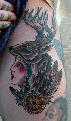 deer, stag, girl, fur, cameo, classic, tattoo