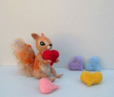Felted squirrel Valentines animal Red heart Cute Valentines gift Wool Felted wild animal Lovely squirrel Love ornamentSoft sculpture