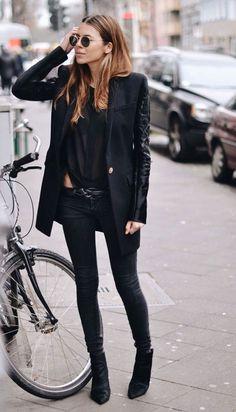 jean noir + blazer long
