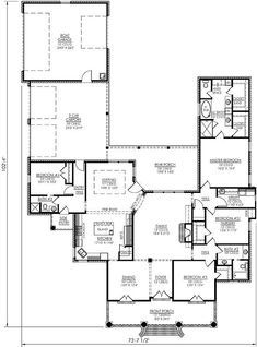 Southern Style House Plans   2790 Square Foot Home , 1 Story, 4 Bedroom And  3 Bath, 3 Garage Stalls By Monster House Plans   Plan