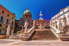 Famous fountain of shame on baroque Piazza Pretoria, Palermo, Sicily, Italy , Italy In September, Bucket List Holidays, New Airline, Italian Romance, Puzzle Of The Day, Kangaroo Island, Holiday Tops, Sicily Italy, Pretoria
