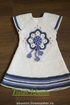 """вязаное теплое платье """"Цветок"""" - платье,вязание для детей,белый,шерстяное платье"""
