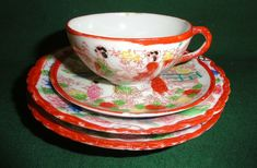 Oriental Asian Scene Made Japan 4 Piece China 2 Plates Tea Cup Saucer Red Rim Cup And Saucer Set, Tea Cup Saucer, Asian Tea, Dragon Tea, Bone China Tea Cups, Fine Porcelain, China Dinnerware, Vintage China, Tea Set