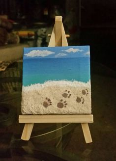 Mini-Beach Scene Canvas Painting with by TheSofiaCorinaSeries