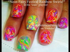 Rainbow Neon Fairy Festival Nails by Robin Moses